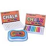 Essel Non-Toxic/White Dustless Chalk (12 ct Box) / Colored Dustless Chalk (12 ct Box) / Bundle/Microfiber Eraser (Washable & Reusable)