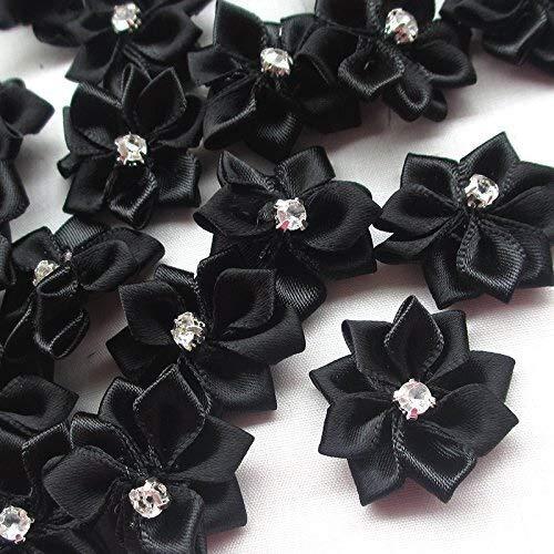 QWERTYU 20 stks zwart Kristal Strass Decoratie Satijn Lint Bloem Appliques Bruiloft Partij Naaien Craft DIY Voor Jurk Hoed Tassen Schoenen LIFUQIANGME