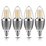 GEZEE  LED Candelabra Bulb, Non-Dimmable 100-Watt Light Bulbs Equivalent, 12W LED Candle Bulbs,Warm White 3000K Chandelier Bulbs, E12 Candelabra Base, 120V, 1200Lumens, 4.7in,Torpedo Shape(4 Pack)