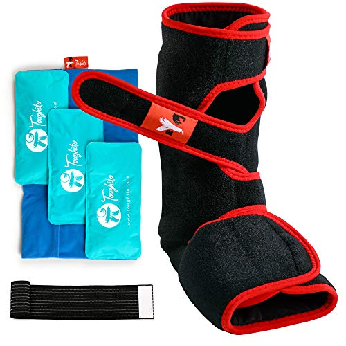Toughito Ankle Ice Pack Wrap - 4 in 1 Hot & Cold Ankle Boot for Sprained Ankle, Achilles Tendon Injury, Plantar Fasciitis & Bursitis - 3 Ice Packs for Injuries Reusable Gel Ice Pack Sleeve & Strap