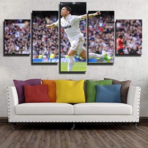 YFTNIPL Bilder 5 Teilig Leinwand Art Bilder Cristiano Ronaldo Feiert Tore Wandbild Wohnzimmer Hauptdekor Hd Gedruckt 5 Teilig Poster Modulare Abstrakt Ölgemälde Leinwand