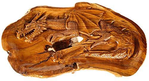 Windalf Hoge natuur salontafel met draak en glasplaat FAFNIR 117 cm rustieke koffietafel handgemaakt van wortelhout