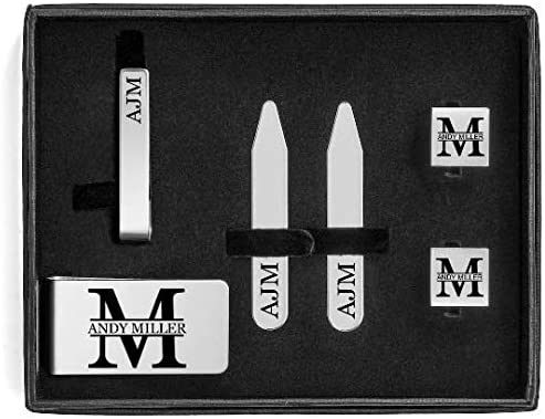 Engraved Money Clip, Tie Bar Clip, Square Cuff Links, Collar Stays Set Block Initial Custom Personalized