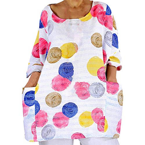 SHINEHUA linnen blouse dames linnen tuniek blouse tops Mexicaanse blouse losse lange mouwen bovenstuk T-shirt casual ronde hals blousenshirt lange mouwen losse tops Baggy tuniken Kaftan Medium wit