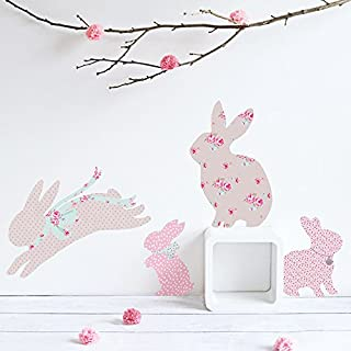 Koko Kids Vintage Floral Rabbit Wall Decals ~ for baby nursery and children's rooms. Made of fabric, not vinyl, free from BPA & Phthalates. (Small)