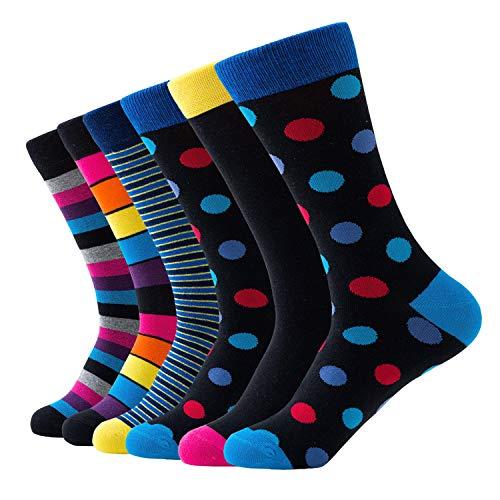 Relaxife Herren Business Bunte Socken Baumwolle Strümpfe Socken Herren Bunt,Herren Anzugsocken Crew Socken Bunt Gestreifte Gepunkte Gemusterte im 6-er Paar