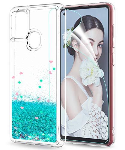 LeYi für Samsung Galaxy A21S Hülle Glitzer Handyhülle mit HD Folie Schutzfolie,Cover TPU Bumper Silikon Clear Schutzhülle für Case Samsung Galaxy A21S Handy Hüllen ZX Türkis