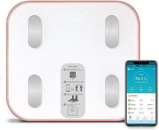 Báscula Grasa Corporal Báscula de Baño Bluetooth,Análisis metabólico básico de la composición Corporal, aplicación de sincronización a través de la batería Bluetooth AAA * 4 (Máx.180 kg)