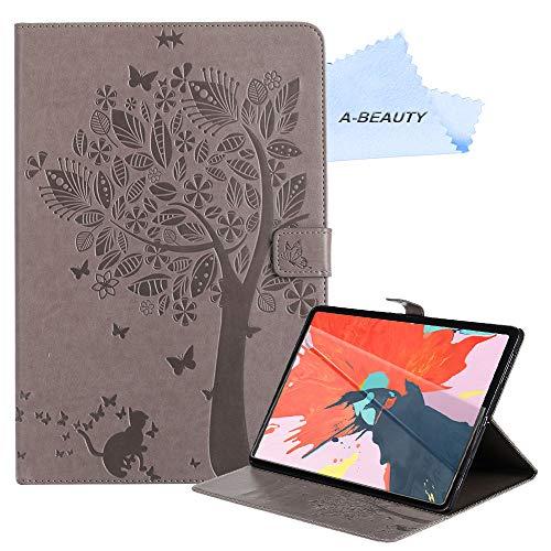 A-BEAUTY - Funda para iPad de 10,2 pulgadas 2020/2019 8ª/7ª generación (A2197/A2198/A2200) con protector de pantalla, color gris
