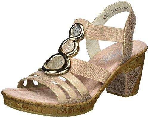 Rieker Damen 69752 Offene Sandalen mit Keilabsatz, Mehrfarbig (Rose/Fango-Silver/Nude/Altsilber / 31), 38 EU