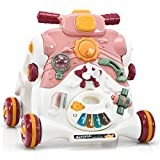 COSTWAY Sit to Stand Walker, 3 in 1 Baby Walker| Ride on Car| Game Panel, Kids Multifunctional Activity Center with Lights and Music, Two-Speed Toddler First Steps Early Development Toy (Pink)