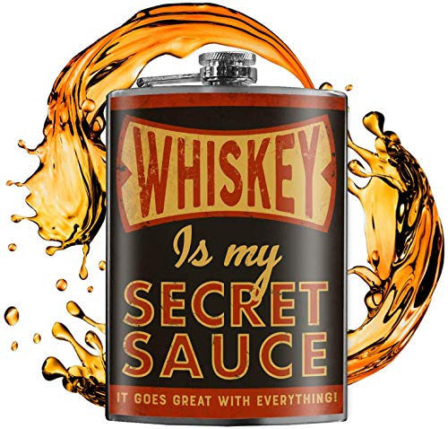 Whiskey Is My Secret Sauce - 8oz Flasks For Liquor For Men - Stainless Steel Flask For Women - Groomsmen Gifts - Whiskey Flask - Alcohol Flask For Men - Funny Flask - Hip Flask - Trixie and Milo