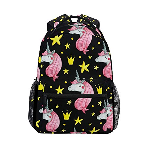 DOUBLE Shoulder Bag Cute Vintage Unicorn Stars Printed College Daypack Laptop Student Travel Backpack School Bag Gift Casual Book for Boys Girls Women Kids Men