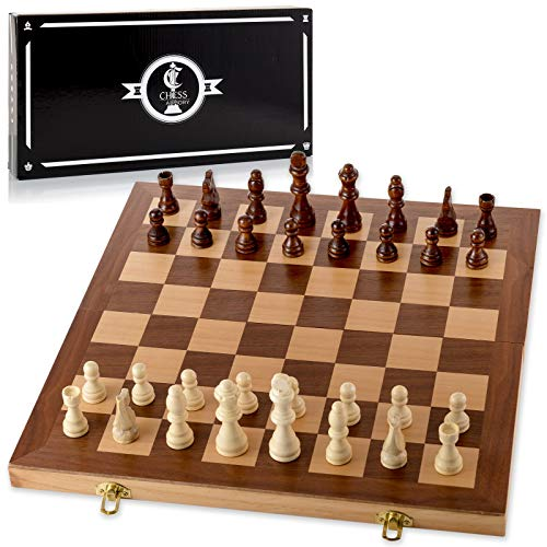 Chess Armory 15' Wooden Chess Set with Felted Game Board Interior for Storage