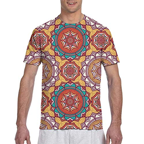 WoodWorths Vintage Decorative Pattern Men Short Sleeve Tee Colorful Tshirt Tees Casual(Medium,Black)