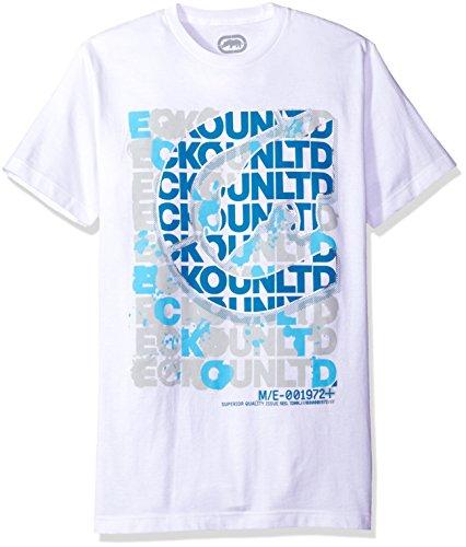Ecko Unltd. Men's Scrambled Scrabble Logo Short Sleeve Tee, White, Large