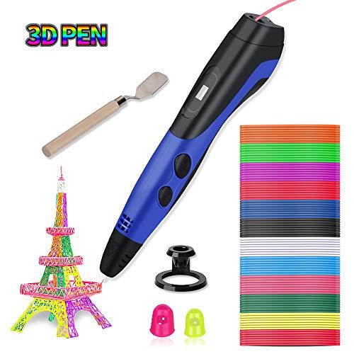 Lacroo 3D Stylo d'Impression,Peinture 3D Pen avec 12 Couleurs PLA Filament et Ecran LCD,3 Vitesses d'Impression et Température...