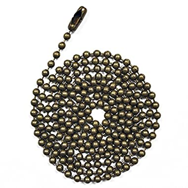 3 Foot Length Ball Chains, #6 Size, Medieval Brass Finish, with Matching Connectors (3 Pack)