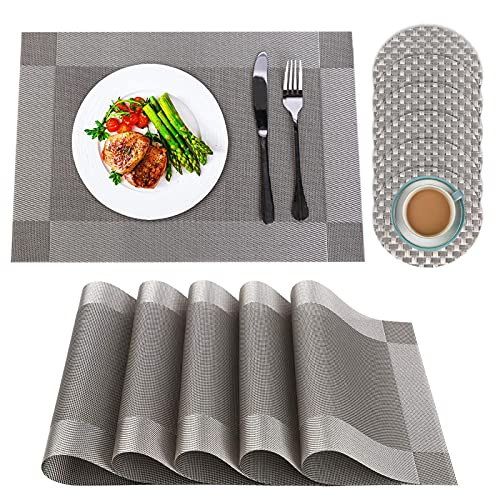 IYOYI Placemats and Coasters Sets 6, Washable PVC Table Place Mats, Heat...