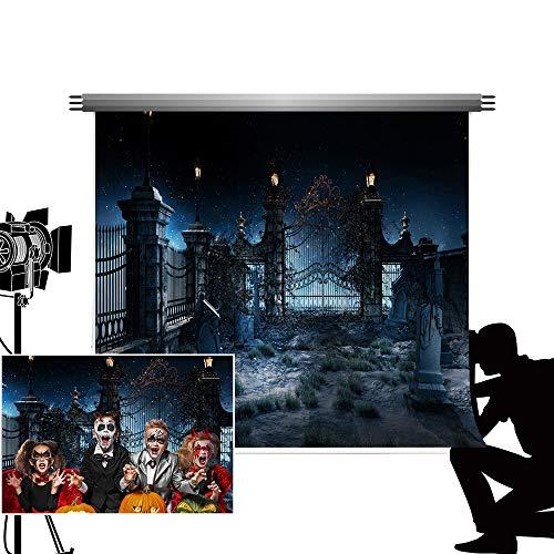 Kate Foto Backdrops für die Fotografie Black Night Hintergrund verschwenderischer Friedhof Fotograf Requisiten für Halloween Party Fotos 7x5ft / 2.2x1.5m