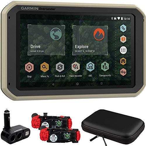Garmin 010-02195-00 Overlander On/Off-Road Navigator GPS with Built-in Bluetooth Bundle with 2X Tactical Emergency Paracord Bracelet, Hard EVA Case and Dual DC12V/24V Multifunction Car Socket