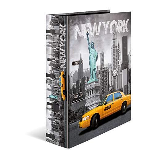 HERMA 7170 Motiv-Ordner DIN A4 Trendmetropolen New York, 7 cm breit aus stabilem Karton mit Städte Innendruck, Ringordner, Aktenordner, Briefordner, 1 Ordner