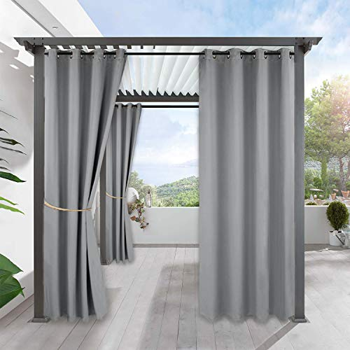 RYB HOME Waterproof Outdoor Curtains - Blackout Curtains Privacy Shades Thermal Insulated Blinds for Patio Door Gazebo Cabana Carport Pergola Canopy, W 52 x L 95 inch, 1 Pc, Light Grey