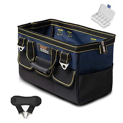 AIRAJ 18 Zoll Werkzeugtaschen mit Große Öffnung oben,Verstellbarem Schultergurt - Breiter Reißverschlussöffnung - Mehreren Taschen - Kostenlose Mini-Toolbox, Wasserdichte Werkzeugtasche