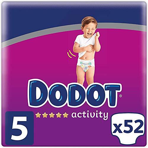 DODOT Activity Pañales Talla 5, 11-16Kg, Pañales con Ajuste Resistente, Blanco, 52 Pañales