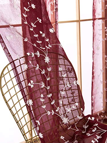AmHoo 2 Panels Leaf Flora Embroidered Farmhouse Semi Sheer Curtain Voile Curtains for Living Room Bedroom Window Treatment Burgundy Red 53 x 63 Inch
