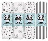 Bamboo Muslin Baby Swaddle Blanket - Hypoallergenic Soft Silky Newborn Swaddle Wrap, Neutral Receiving Blanket for Boy and Girl, Set of 4- Zebra, Star, Stripe, Elephant - Grey White