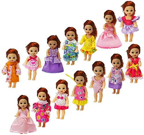 ZITA ELEMENT Lot 5 Fashion Handmade Clothes Dress for 11.5 Inch Girl Doll Sister Kelly Cute Party Doll Outfits - Random Style for 4' Doll Xmas Gift