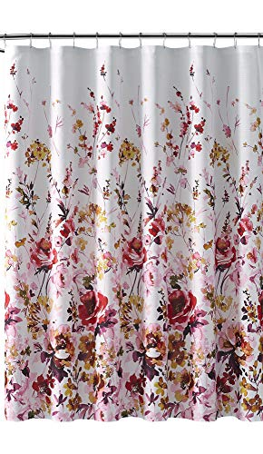 VCNY Fabric Shower Curtain: Watercolor Floral Wildflower Trellis Ascent, Red Purple Pink Yellow Lime Brown (Rose)