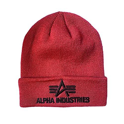 Alpha Industries Gorro 3D borgoña.