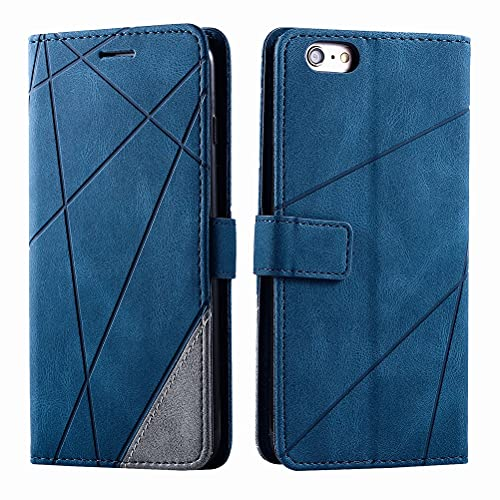 Laybomo Funda para Apple iPhone 6 Plus, Cascara de Cuero iPhone 6 Plus Funda [Agradable a la Piel] Soporte Plegable, Ranuras para Tarjetas, Funda Libro, Cáscara de TPU para iPhone 6 Plus, Azul