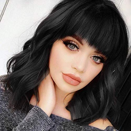 Shoulder Length Natural Black Wavy Bob Wigs For Women Short Wavy Wigs With Bangs Synthetic Wavy Wigs Heat Resistant Daily Use Wigs(Natural Black)