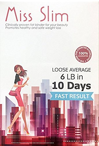 Miss Slim Weight Loss for Women - Clinically Proven Fast Fat Binder Weight Loss Pills Manufactured in an FDA Registered Laboratory – Extreme Potency Diet Pill (Miss Slim 10 Pills/pk)