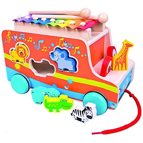 Mertens Holz-Steckauto mit Xylophon, Spielzeug für Kinder ab 18 Monate, Kinderspielzeug (Ziehauto mit Sortierfunktion, hilft mit ersten Schritten & Gleichgewichtsübungen, inkl. Tierformen), Mehrfarbig