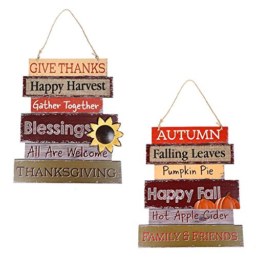 MorTime Set of 2 Thanksgiving Hanging Welcome Signs, 14' Thanksgiving Themed Wooden Door Signs Plaque for Fall Autumn Harvest Day Home Office Front Porch Decorations