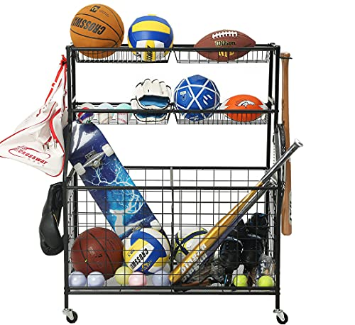 JOMAY Garage Sports Equipment Organizer, Ball Storage Rack, Garage Ball Storage, Sports Gear Storage Organizer, Rolling Outdoor Sports Ball Storage Cart with Baskets and Hooks