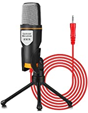 IUKUS PC Microphone with Mic Stand, Professional 3.5mm Jack Recording Condenser Microphone Compatible with PC, Laptop, iP@d, iPh0ne, M@c-Recorder Singing YouTube Skype Gaming (3.5mm PC Microphone)