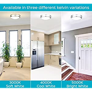 Luxrite LED Flush Mount Ceiling Light, 12 Inch, 18W, 5000K (Bright White), Dimmable, 1380 Lumens, Ceiling Light Fixture, Energy Star & ETL, Perfect for Entryway, Living Room, Kitchen, and Bathroom