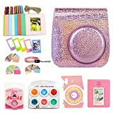 Wogozan for Fujifilm Instax Mini 9 8 Instant Camera Accessories Kit Bundle + Custom Case with Strap + Assorted Frames + Photo Album + 60 Colorful Sticker Frames + More(Glitter Pink