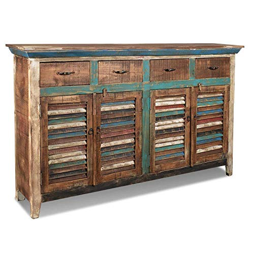 Crafters and Weavers La Boca Rustic Distressed Reclaimed Solid Wood 4 Drawer 4 Door Sideboard/Multi Use Cabinet/Bar