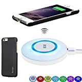 Antye Qi Wireless Charger Kit for iPhone 6 Plus/6S Plus - Including Qi Wireless Charging Pad and Wireless Charging Receiver Case, with Sleep-Friendly 7-Color LED Indicator Light (Black_White)
