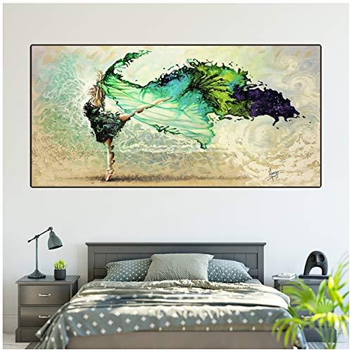 juntop Quadro su Tela con Abito Verde Dance Girl Decorazioni murali Immagini Stampate Balletto Poster e Stampe per la Decorazione Domestica 50x100 cm / 19,7'x39,4 Senza Cornice