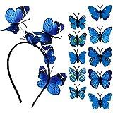 Diadema con Mariposas + 10 Horquillas de Mariposas Mujer Niña para el Pelo Adornos Accesorios para el Cabello Boda Fiesta Disfraz