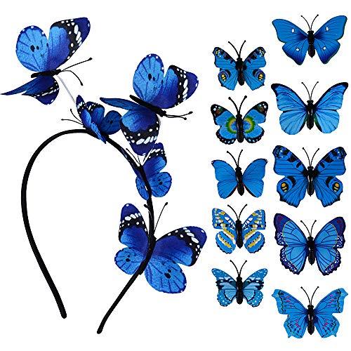 (11pcs) 10 Schmetterling Haarspange und 1 Schmetterling Haarreif Stirnband Party Haarreif Kopfschmuck Haarschmuck Haarband Kopfbedeckung Accessoires für Hochzeit Party Kostüm Damen Mädchen