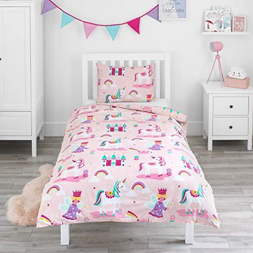 Bloomsbury Mill - Magisches Einhorn, Märchenprinzessin und verzaubertes Schloss - Bettwäscheset für Kinder - Rosa - Bettbezug 135cm x 200cm und Kissenbezug für Einzelbett
