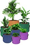 HaoWin Plant Grow Bags, 7 Pack Fabric Pots in 4 Sizes 4 Colors Mixed, Breathable Smart Pots Garden Pots, 10 Gallons, 7 Gallons, 5 Gallons and 3 Gallons Cloth Pots Planting Bags